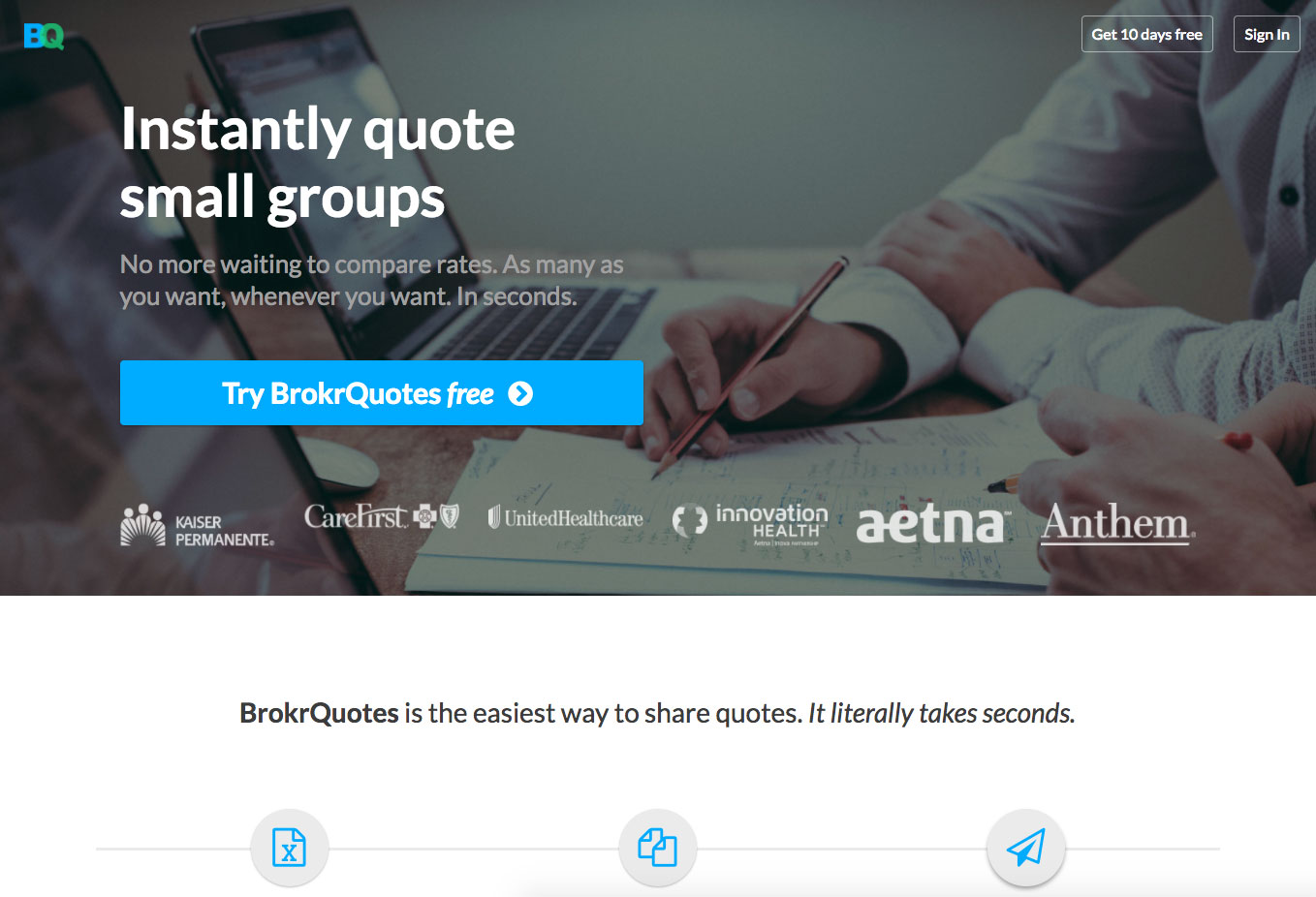 BrokrQuotes website screenshot