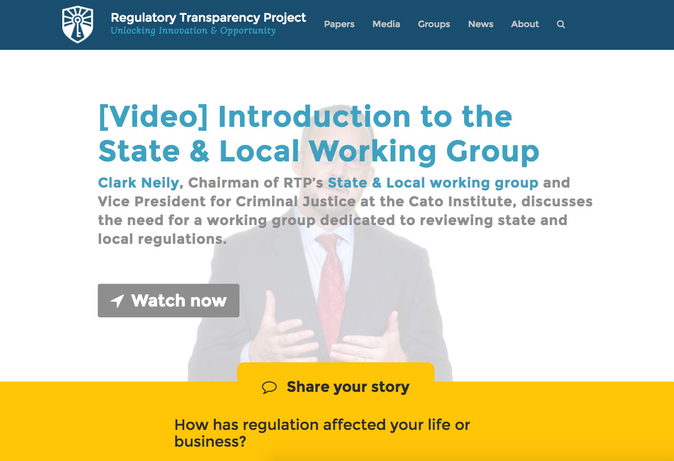 Regulatory Transparency Project website screenshot